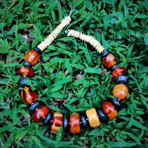 Antique Baltic Amber & Bone Chunky Tribal Necklace